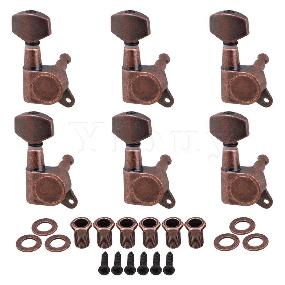 Yibuy 4x3.7cm Bronze Electric Guitar Full Closed Tuning Pegs Tuners Right Hand Machine Heads Guitar Accessories Parts Pack of 6