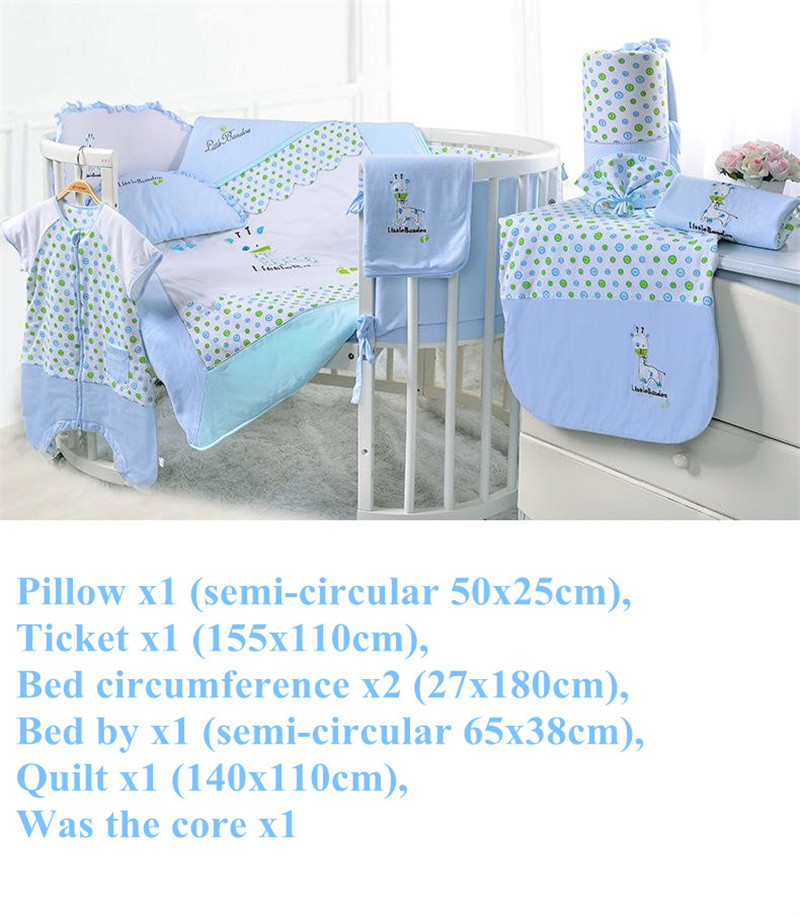7 Pieces Baby bedding Sets Small Deer Button Printing Seven Sets Pillowx2+Bed Sheets+Bedside+Bed Cushions+ Quilt +Sheets Core1