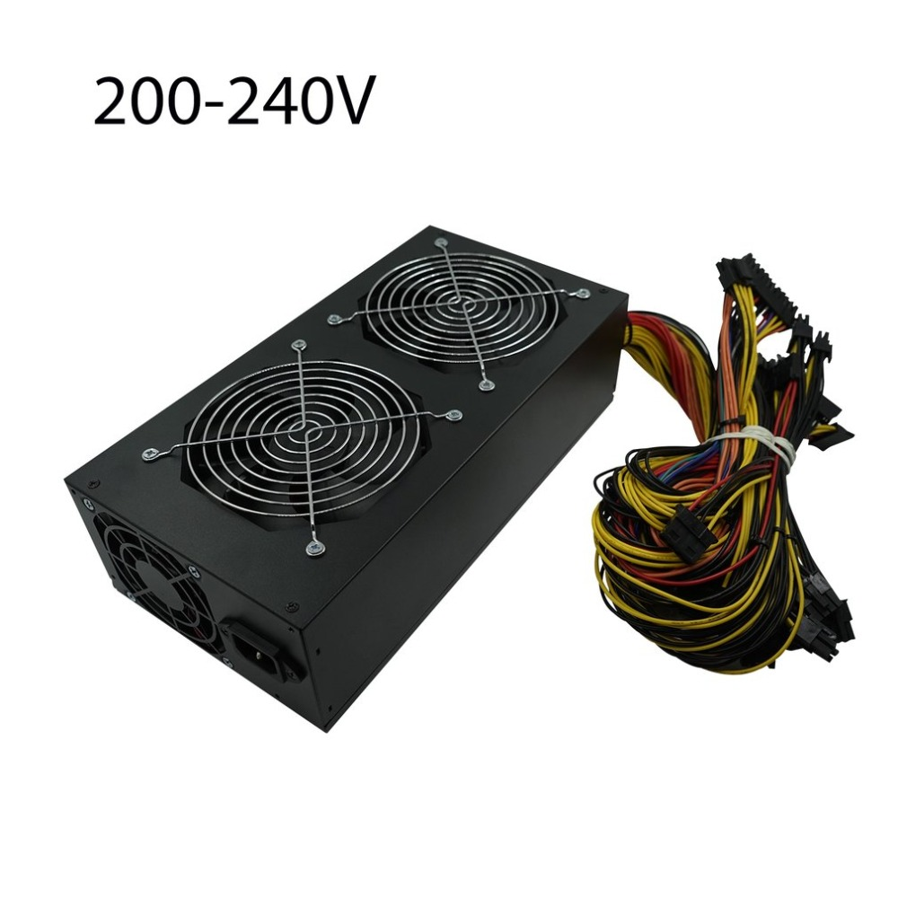 1650W ATX Power Supply PFC Type with 3 Fan For Eth font b Rig b font
