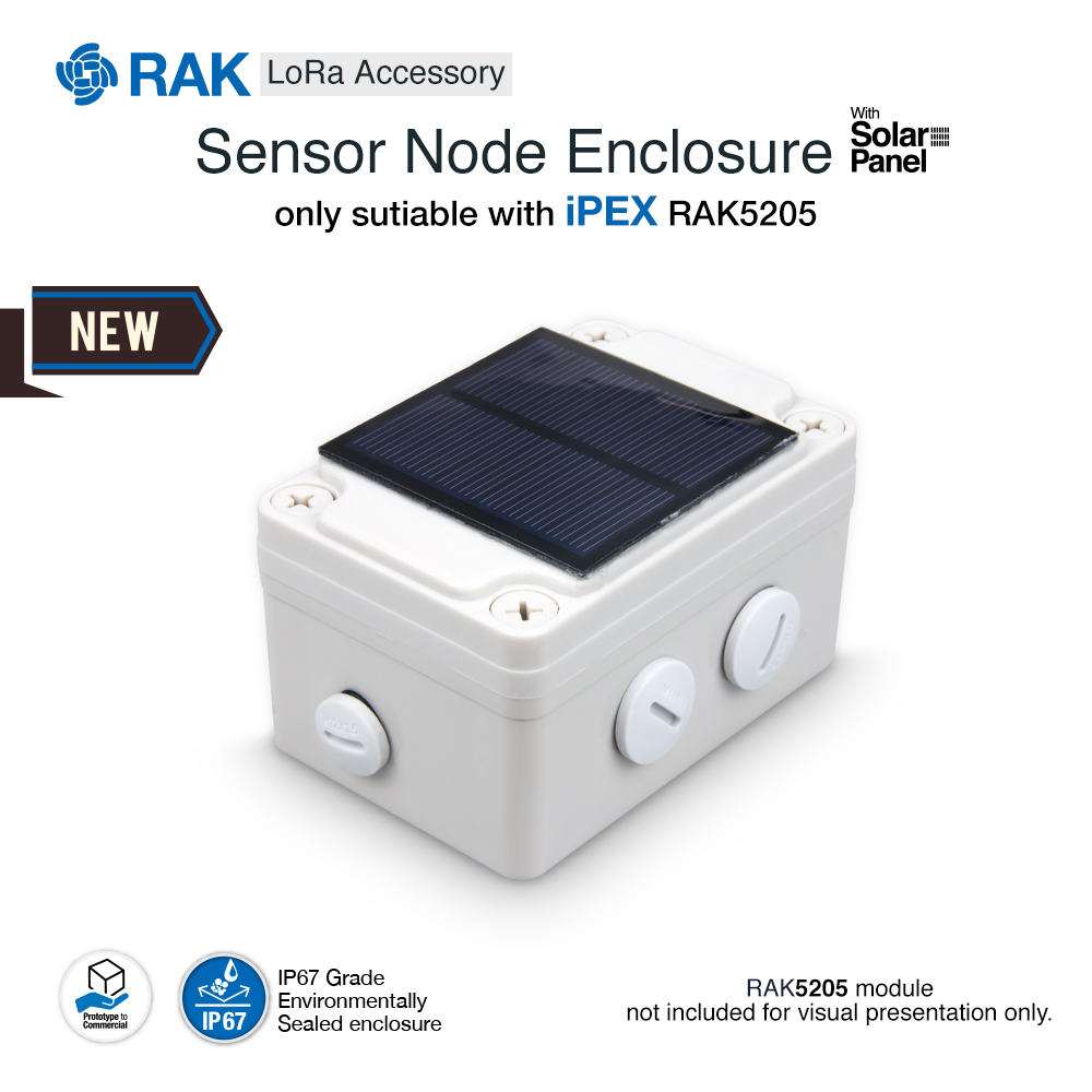 Outdoor Sensor Node Enclosure With Solar Panel For IPEX RAK5205 Tracker Board LoRa Accessories IP67 Rated Waterproof Q050