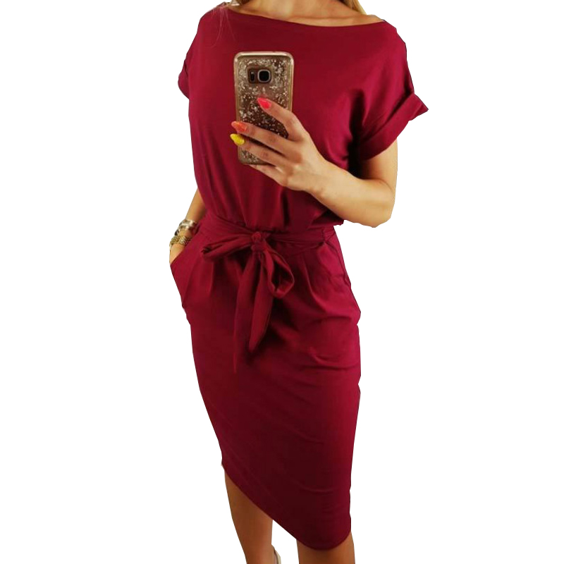 Mujeres 2018 nueva primavera verano vestido Delgado Bodycon vendaje vestido sólido Sexy Casual rodilla-Manga corta longitud Sundress GV451
