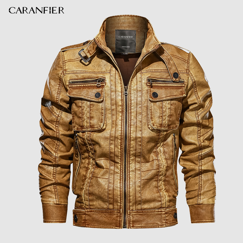 CARANFIER 6XL Mens PU Jacket Leather Coat Autumn Slim Fit Faux Leather Motorcycle Jackets Male Coats 2019 Brand Clothing Coats