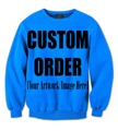 REAL USA SIZE Custom Create your own 3D Sublimation print Crewneck Sweatshirts plus size