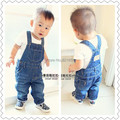 80-95 cm height autumn and spring girls and boys jeans overalls baby denim overalls can open files Baby cowboy jumpsuit Baby Bib