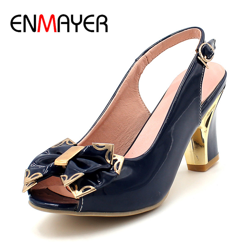 ENMAYER Women Pumps Slingbacks Peep Toe Platform Pumps Bowtie Black Blue Summer Classics Large Size Shoes