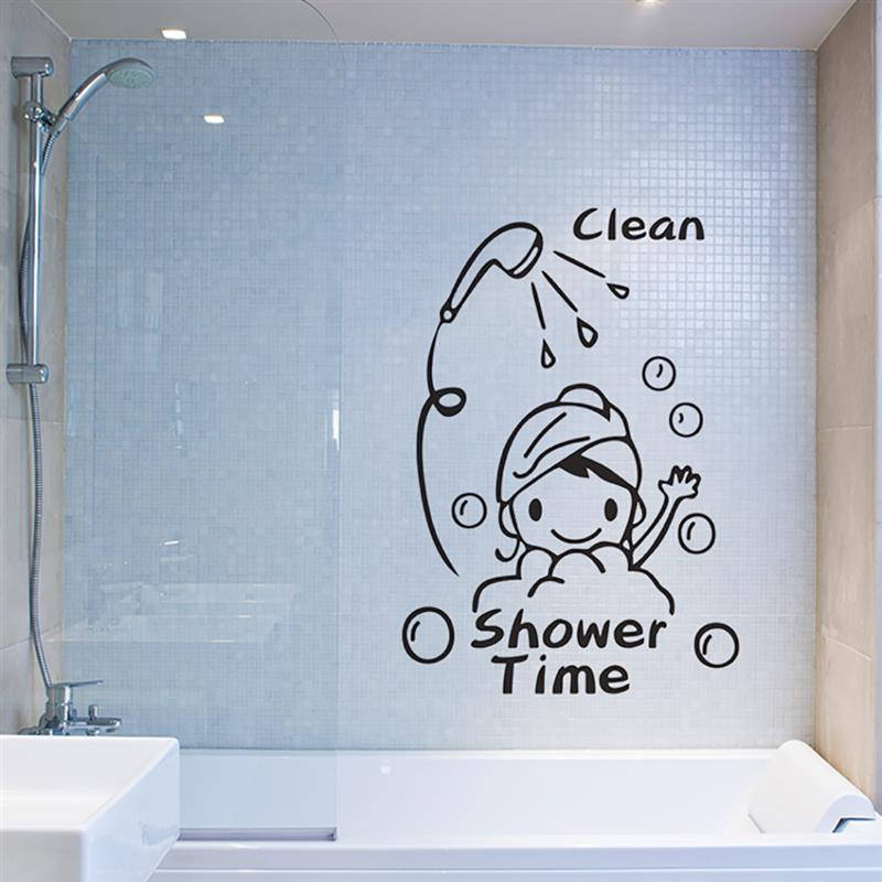 Wall Sticker Clean Shower Time Cute Little Girl Child Bathroom Glass Door Wall Stickers Home Decoration Stickers