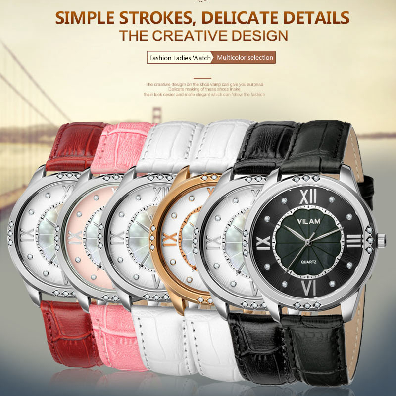 Prix pour Femelle Poignet Montres Femmes Horloge Top Marque Bracelet En Cuir Dames En Cristal de Diamant Robe Montre-Bracelet Cadeau Quartz-montre pour Filles