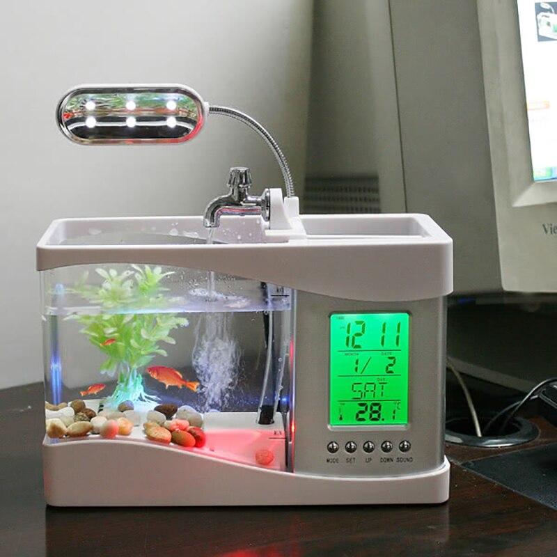Populaire USB bureau Mini Aquarium aquarium verre LCD minuterie horloge lampe à LED lumière noir/blanc LED Aquarium aquarium