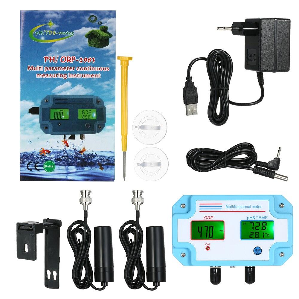 3 en 1 eau pH/ORP/TEMP mètre testeur de qualité de l'eau multi paramètres numérique détecteur d'eau LCD mètre moniteur de qualité de l'eau - 2