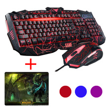 UThink Stopionego Wersja V100 Podświetlany illuminated Ergonomiczna Multimedia Gaming Keyboard + Optical Gaming Mouse Set + Podkładka Pod Mysz Nowy