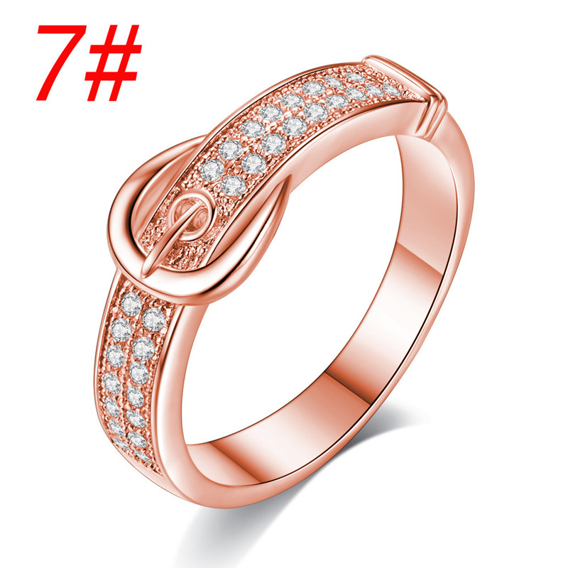 Fashion Women Crystal Belt shaped Ring Simple Belt Rings Wedding Bands High Quality Jewelry Best Gift in Rings from Jewelry Accessories