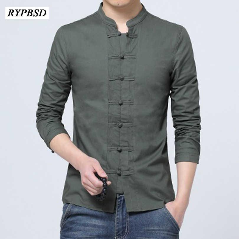 c317cdbd361 Лен Рубашки для мальчиков 2018 Для мужчин Slim Fit китайский льняная  рубашка воротник-стойка Повседневное