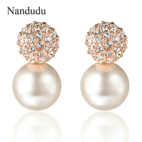 Charming Crystal Smooth Pearl Earrings 18k Rose Gold Plated Women Earring Fashion Jewelry Gift Hot Sale