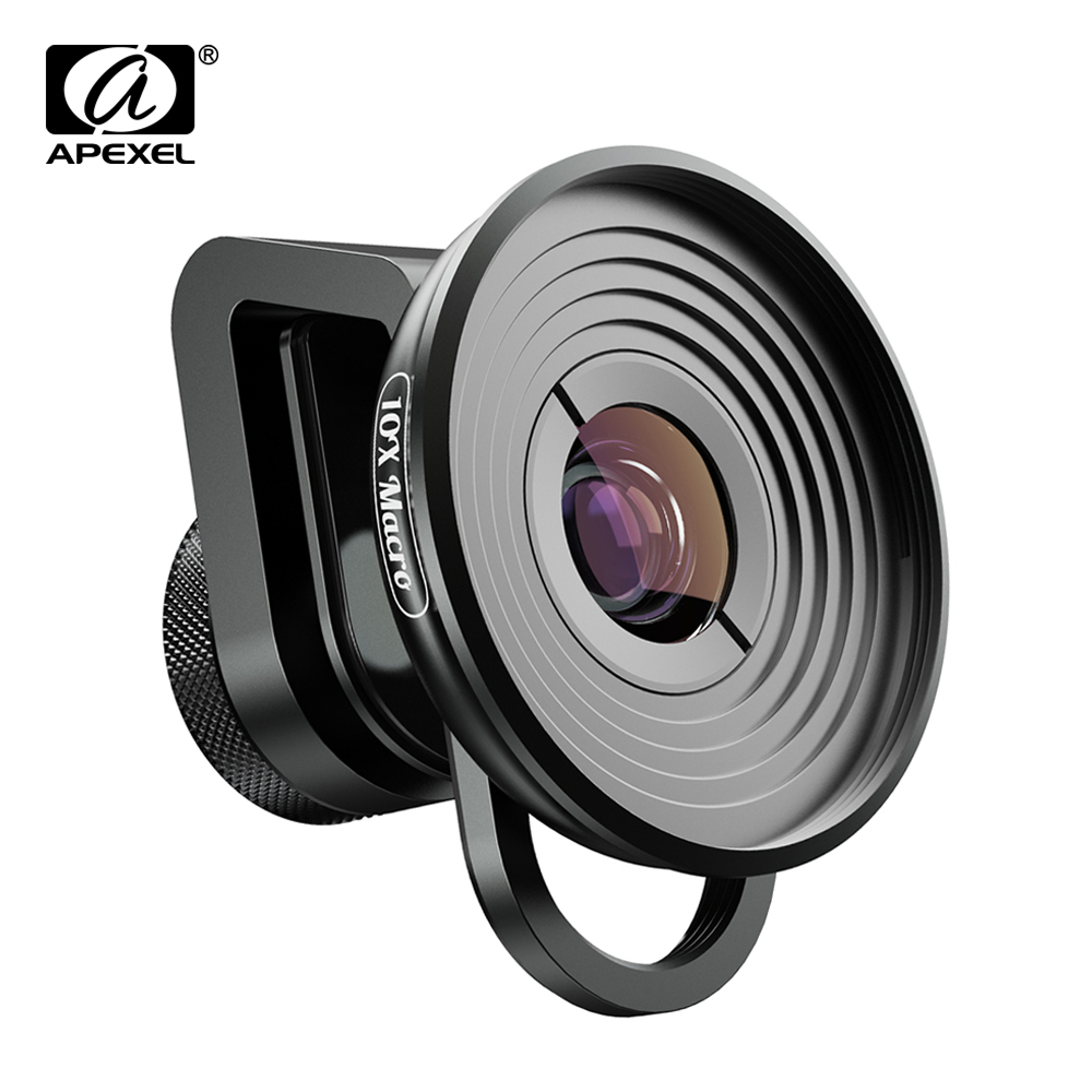 APEXEL HD 10X super macro lens micro lenses with universal clip for iPhonex xs max Samsung s9 Huawei all smartphone dropshipping Mobile Phone Lens     - title=