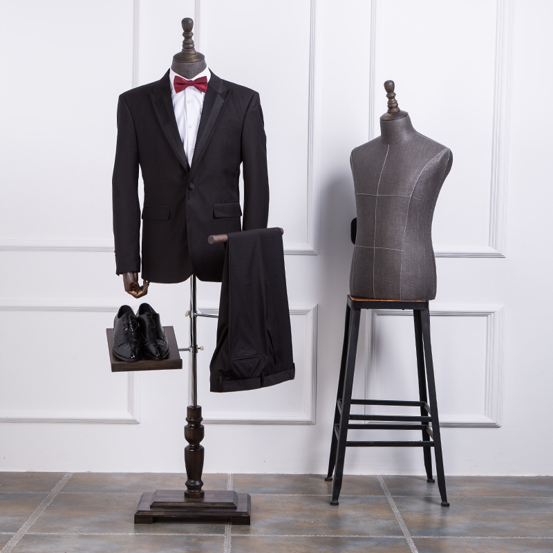 High quality half body mannequin cloth mannequin male suit table display mannequin with solid wood arms