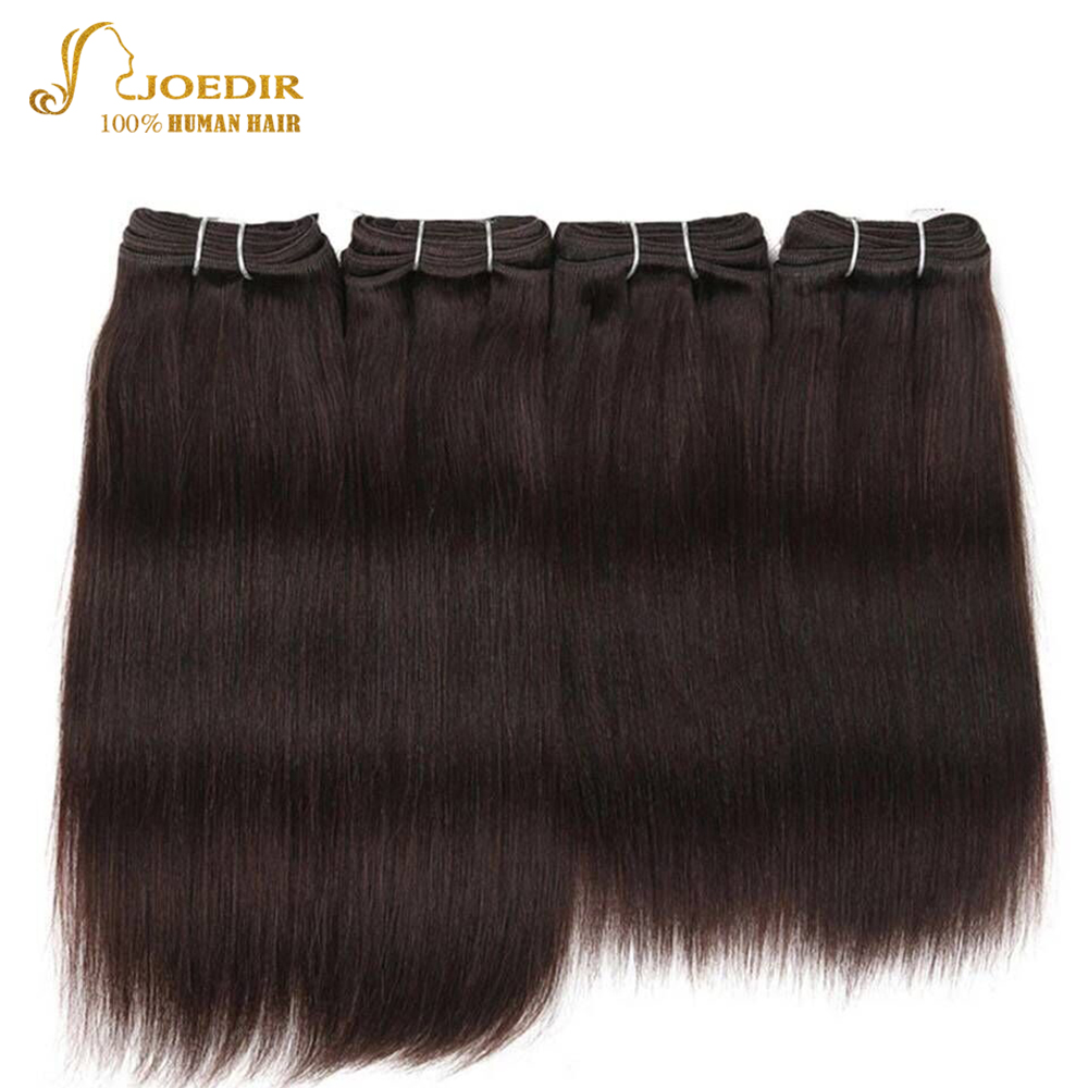Joedir Pre-colored Brazilian Straight Hair 4 Pcs One Pack 190 Gram Brazilian Yaki Human Hair Bundles Weave Color 2# Non Remy