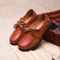 2017 Couro Genuíno Das Mulheres Flats Sapatos Moda Casual Lace-up Primavera Outono Mocassins Mocassins Macios Sapatos Femininos De Condução