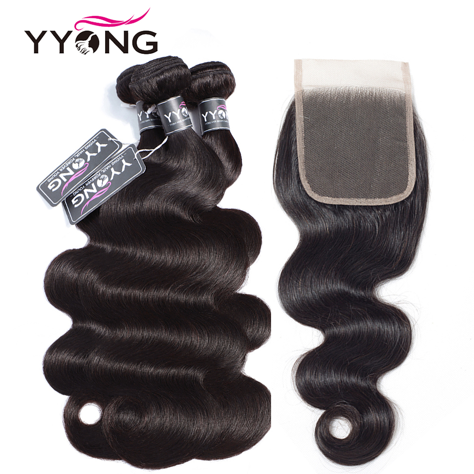 Yyong Hair 3 4 Bundles Indian Body Wave With Closure Indian Human Hair With Closure 8