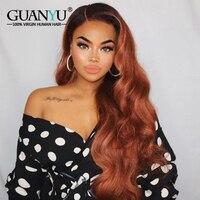 Guanyuhair Ombre 1B/30 волнистые волосы Remy настоящие человеческие волосы парики спереди предварительно выщипанные волосы Омбре коричневый парик с т
