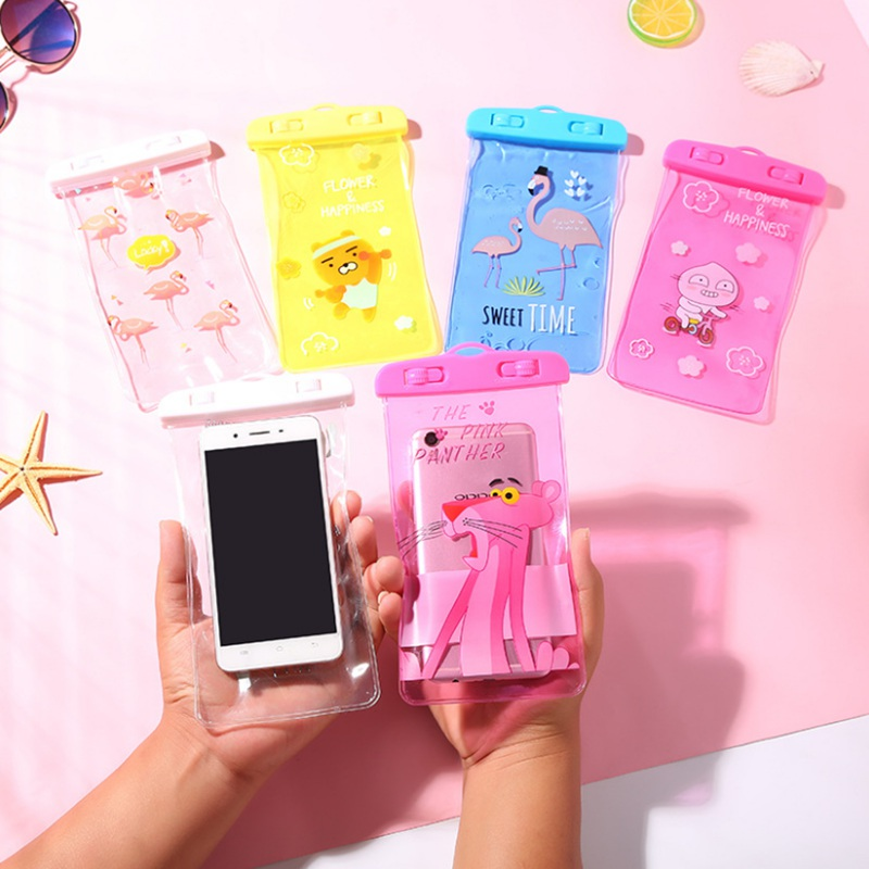 Travel Accessories Cartoon Flamingo Waterproof Pouch Bag PVC Cell Phone Case For IPhone Coin Purse Card Holder Storage Wallet universal waterproof bag with strap for iphone cell phone transparent white