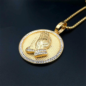 Image 3 - Hip Hop Iced Out Praying Hands Pendant Necklaces For Women And Men Gold Color Stainless Steel Round Jewelry Dropshipping