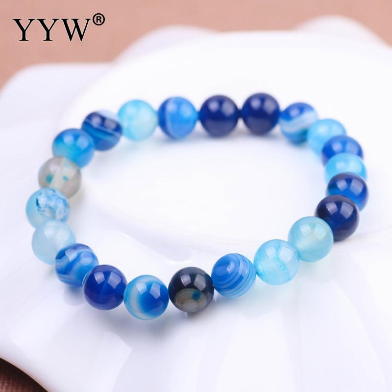 YYW Single Elastic Circle Natural Lace Agata Bracelet 6/8mm Real Rose Green Blue Stones Beaded Bracelet Jewelry Pulsera Women