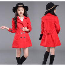 Чистого хлопка пальто для девочек-младенцев trenckot дважды груди пальто габардин infantil длинное пальто для девушки осенняя одежда