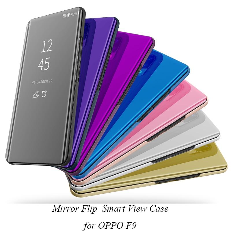 Aleta inteligente Espelho Stand Case Para OPPO F9 F 9 Caso Clear View PU Caso Capa de Couro Para OPPO F9 cobrir para OPPOF9