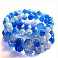 5PCS Blue Blasting Crackle Beads Strand Bracelets DIY Natural Stone Handmade Bracelet Strings Fashion Jewelry Wholesale