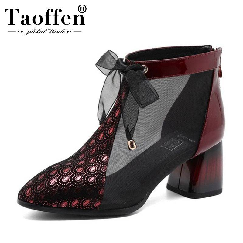 TAOFFEN Genuine Leather Bowknot Women Summer Boots Zipper Fashion Classic Bling Shoes Women Spring Office Work