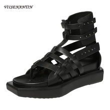 VIISENANTIN black retro style lady cool summer sandal shoe flat platform thong hollow out sanal bootie all match tide