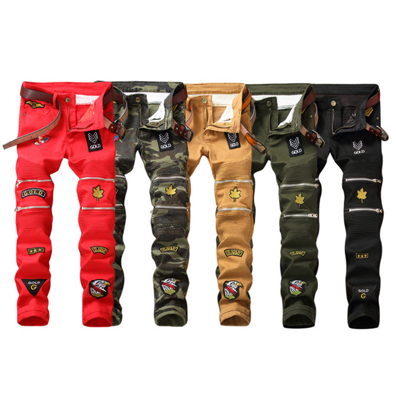 2018 Newly Designer Men   Jeans   Camouflage Printed   Jeans   Slim Fit Stretch Long Pants Fashion Patches Spliced Brand Biker   Jeans   Men