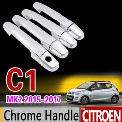 Coche cromo cubierta de la manija de la puerta Trim Set para Citroen C1 mk2 2015, 2016, 2017, 2018, 2019, 2020 accesorios de coche pegatinas estilo de coche