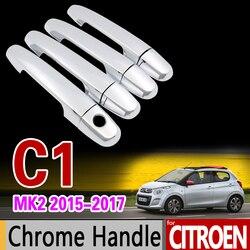 Xe Chrome Cửa Xử Lý Bao Gồm Trim Set đối với Citroen C1 mk2 2015 2016 2017 2018 2019 2020 Xe Phụ Kiện Dán car Tạo Kiểu Tóc
