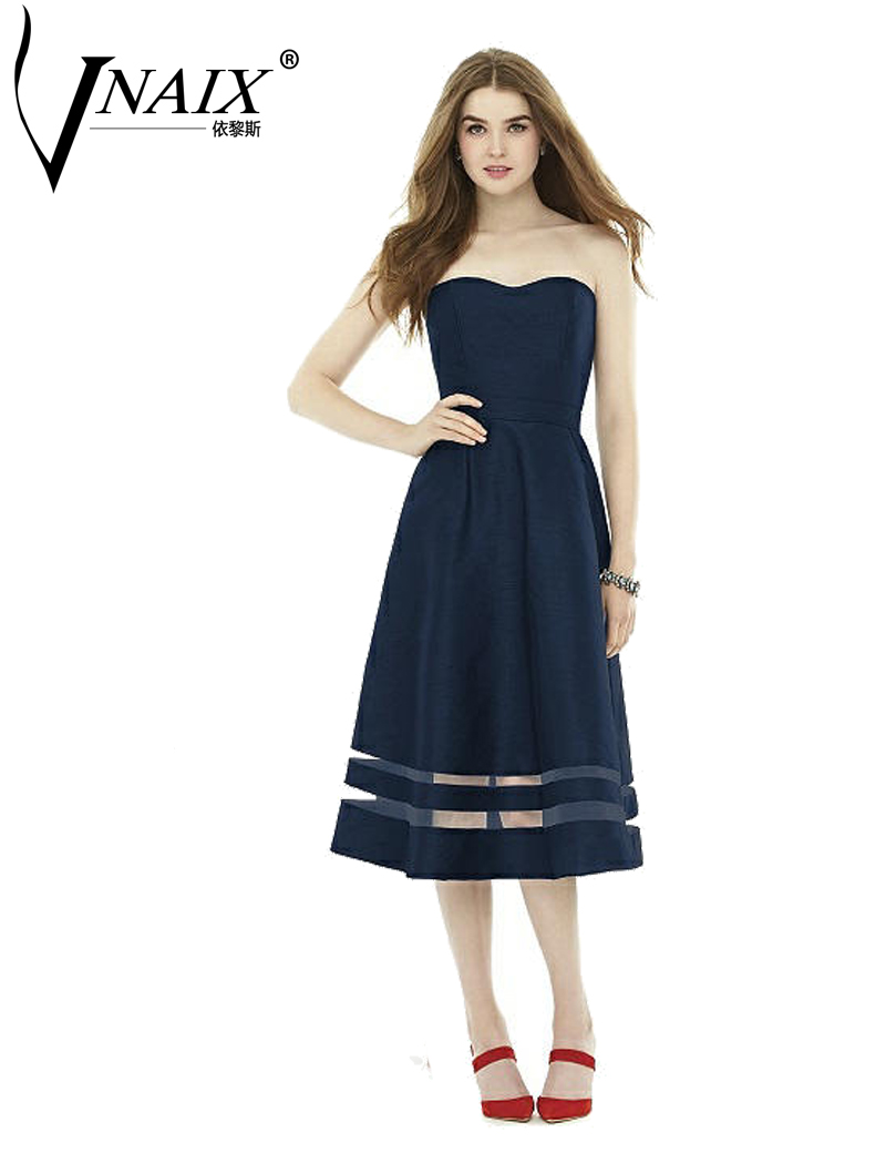 Online get cheap customized bridesmaid dress navy aliexpress bdz032 satin bridesmaid dresses navy tea length mid calf custom made strapless party dress ombrellifo Choice Image