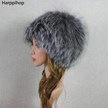 HARPPIHOP FUR women winter fur hat genuine fox fur hats knitted silver fox fur caps female russian bomer caps