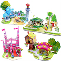DIY 3D Jigsaw Puzzle for Kids Educational Toy cute Castle Villa Ship theme for kids gift
