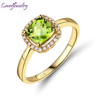 Amazing 14kt Yellow Gold Natural Diamond Cushion 6x6mm Peridot Engagement Ring Good Quality Gemstone Jewelry SR00333