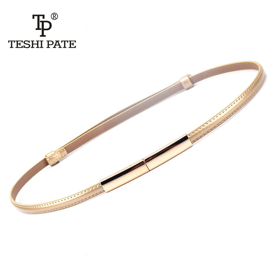 Fashion Newest Design   Belts   ladie's Luxury Gold buckle thin   belt   Free Shipping Genuine leather strap waistband adjustable women
