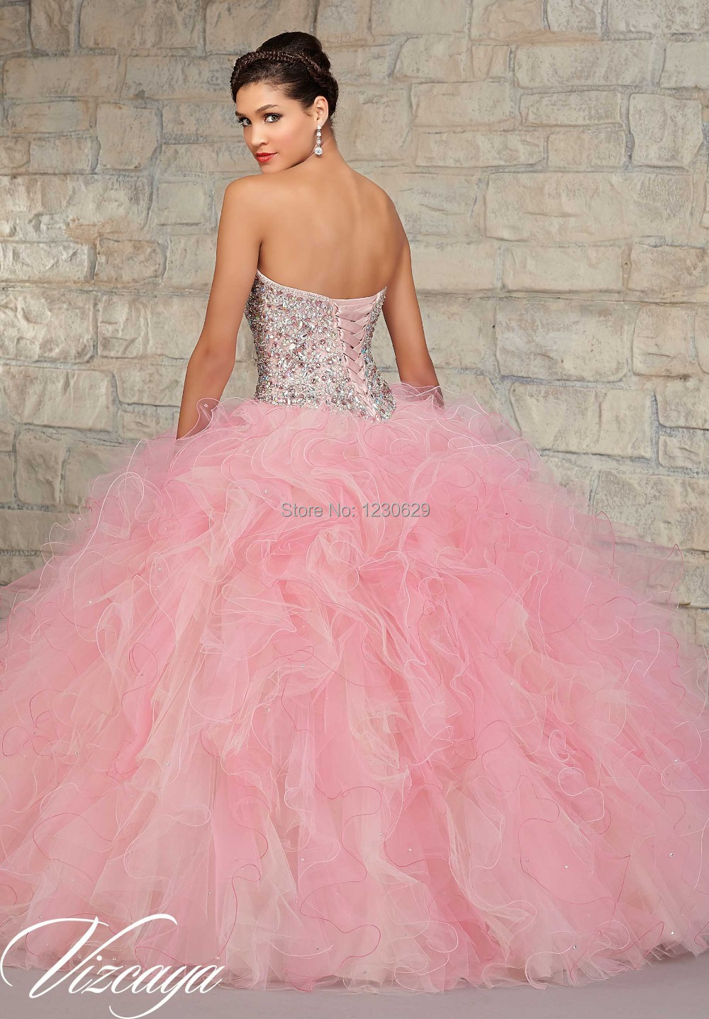 2015 Sweetheart Light Pink Quinceanera Dresses with Beads Ruffles ...