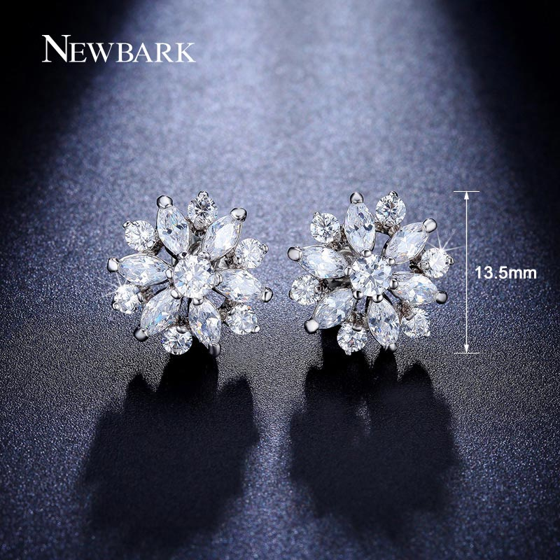 Προϊόν - NEWBARK Silver Color AAA Cubic Zirconia Stud Earrings Fashionable  Flower Earring for Women Jewelry Gift Brincos c64e7eb977db