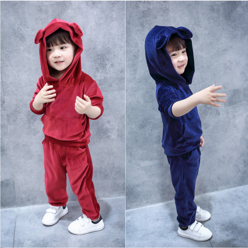2017 Autumn and winter fashion Boys and girls Kids velvet Hoodie Sport Suit Cartoon cute Bear Clothes 2pcs Clothing Set Kids Set kids clothes autumn winter boys gold velvet clothing set school children warm thicken sport suit fashion kids tracksuit