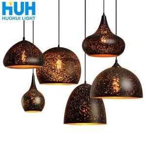 Vintage Pendant Lamp Iron Loft Nordic Porous Retro E27 Etching Lampshade Bar Restaurant Lamp Industrial Wind Rust Pendant Lamp(China)