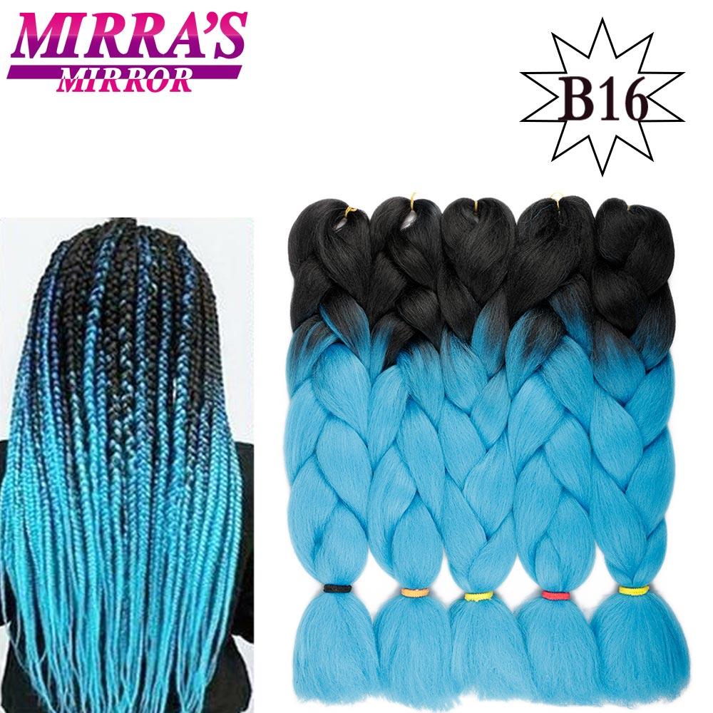 Зеркальные синтетические плетеные удлинители волос Mirra's, Длинные Джамбо плетеные волосы с эффектом омбре, синие, красные, зеленые, серые вол...