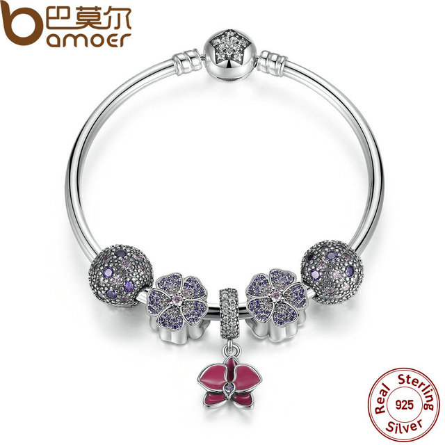 BAMOER Authentic 100% 925 Sterling Silver Bangles & Bracelet with Radiant Orchid,Primrose,Cosmic Stars Clip Charm PSB001