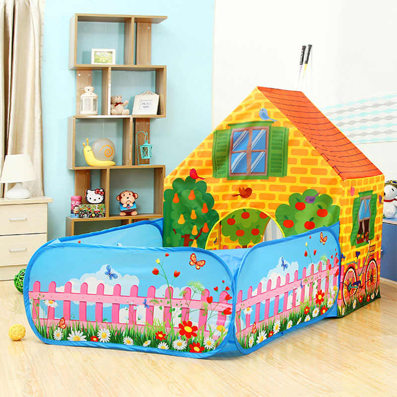 Kids Cottage Play Tent Toys Baby Ball Pits Pool Infant Ocean Balls Playpen For Children Playgournd Foldable Portable Playhouse