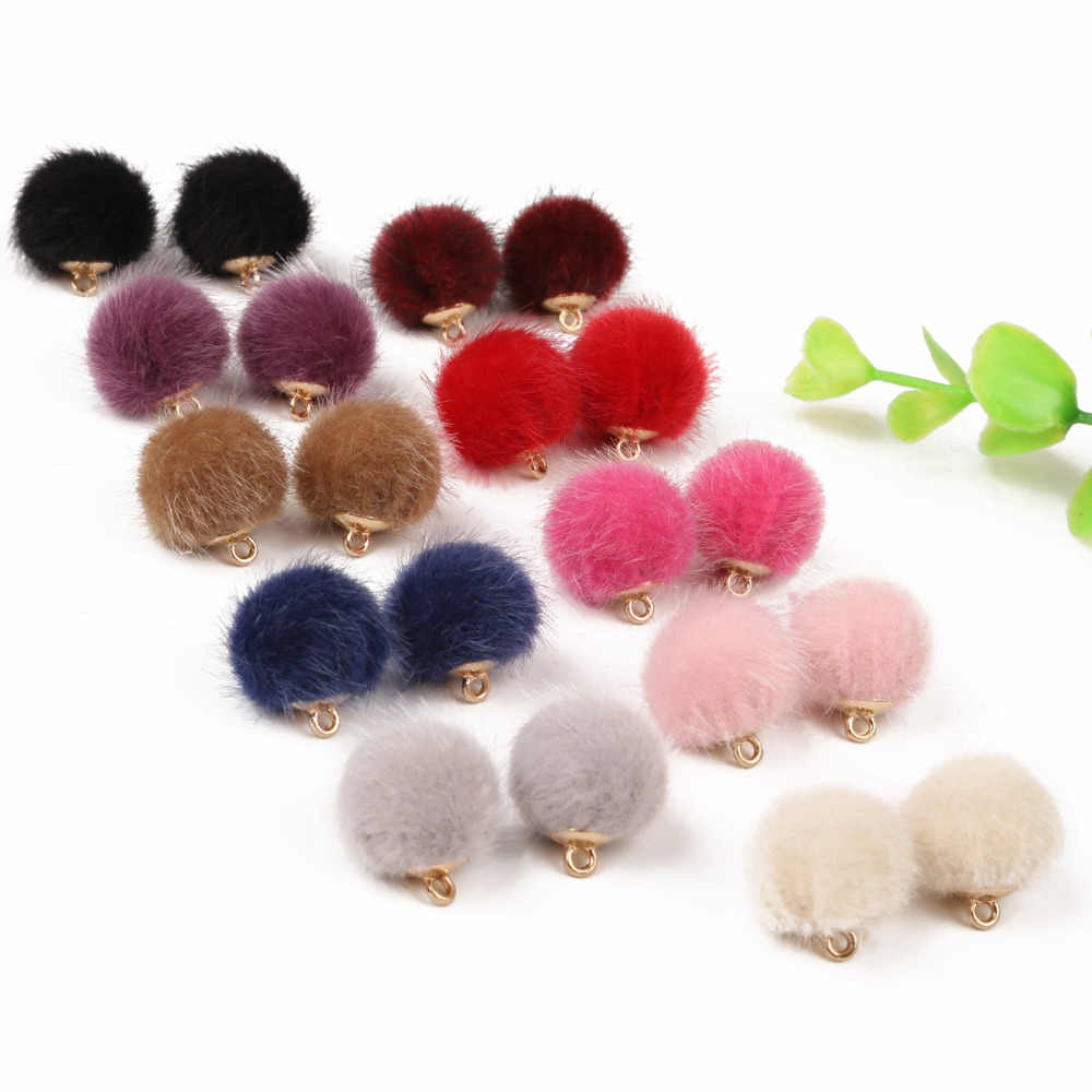 10 Pcs/lot 15Mm Tangan Wol Pompom Bola Bead Charms Liontin untuk Kalung Gelang Perhiasan Membuat DIY Anting-Anting Fingdings