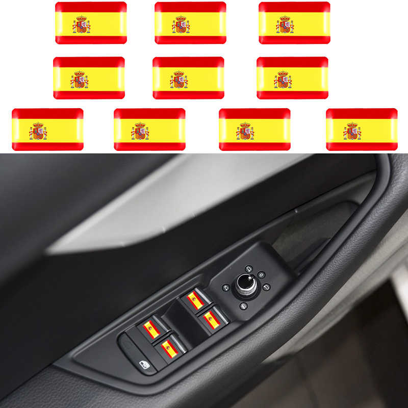 10Pcs 3D Car Sticker Spain National Flag Car Body Trunk Logo Auto Motorcycle Personality Decoration Sticker Auto Accessories