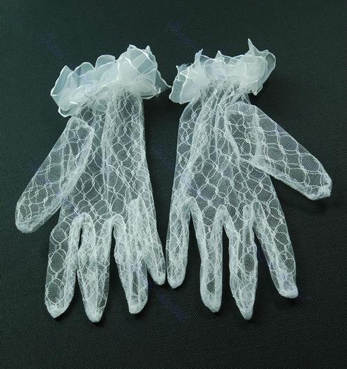 Elegant Chic Avondfeest Banket Kant Vinger Handschoenen Wit