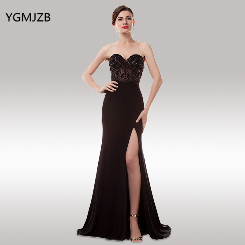 Sexy Long Evening Dresses 2019 Mermaid Sweetheart Sleeveless Side Split Sparkly Beaded Black Prom Dress Prom Evening Gown